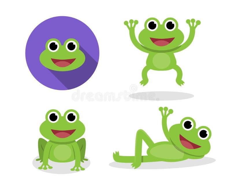 Комплект зеленой лягушки в стиле шаржа, векторе иллюстрация вектора