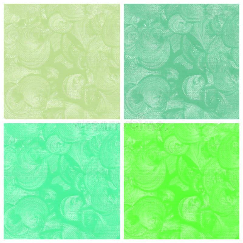 Комплект зеленой покрашенной руки конспекта акварели иллюстрация вектора