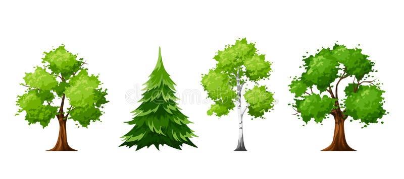 Комплект зеленых деревьев также вектор иллюстрации притяжки corel бесплатная иллюстрация