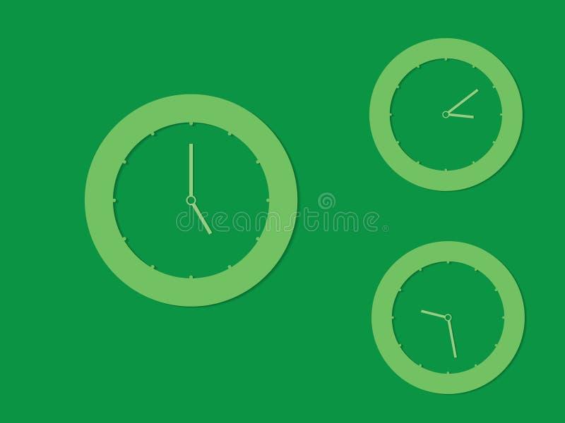 Комплект зеленых круглых часов с различными временами на темной предпосылке иллюстрация вектора