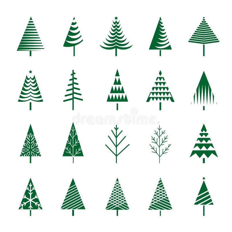 Комплект зеленых рождественских елок Иллюстрация и значки вектора иллюстрация штока