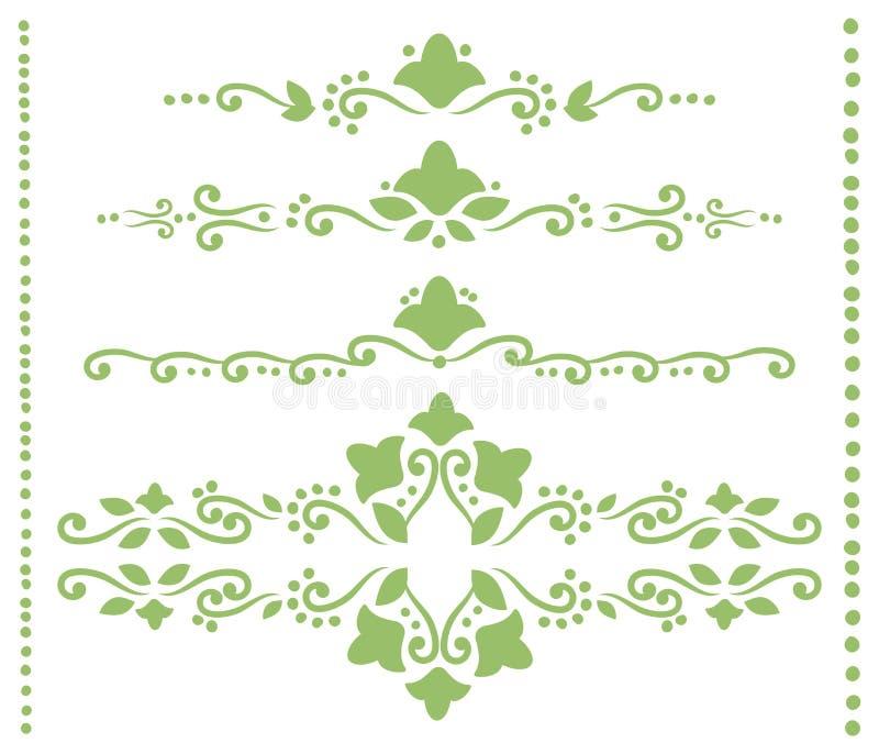 Комплект зеленых openwork рассекателей для текста от скручиваемостей, планы цветков, листья и точки vector объекты изолированные  иллюстрация вектора