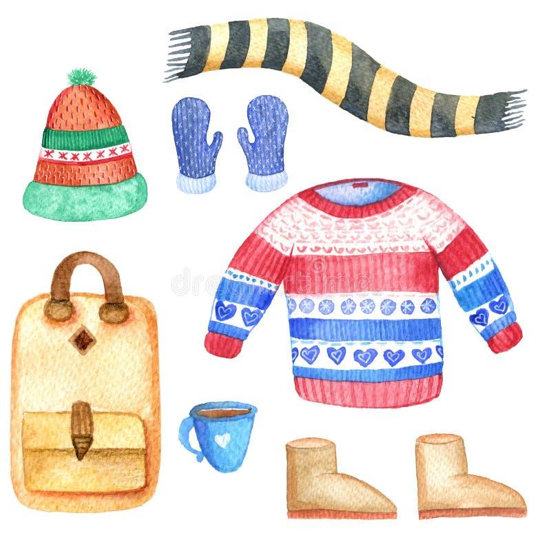 Комплект зимы акварели Иллюстрация покрашенная рукой Earmuffs, шляпа, mittens бесплатная иллюстрация