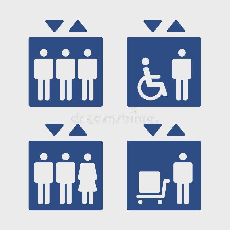 Комплект знака лифтов иллюстрация штока