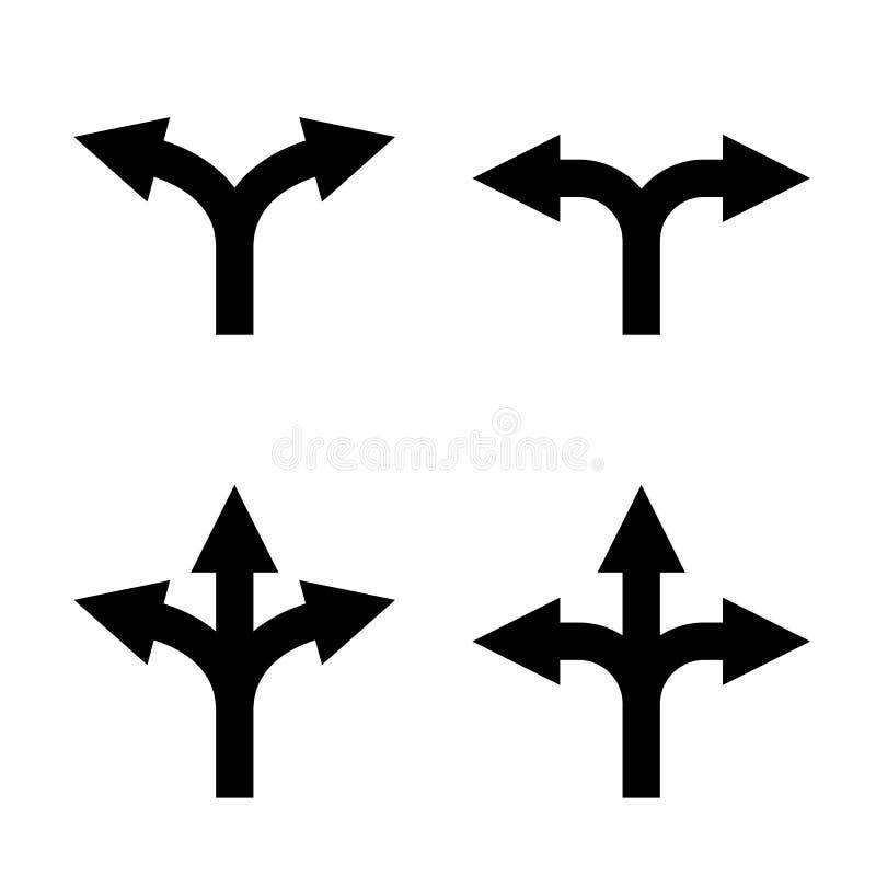 Комплект знака стрелки направления, концепция выбора неопределенности бесплатная иллюстрация