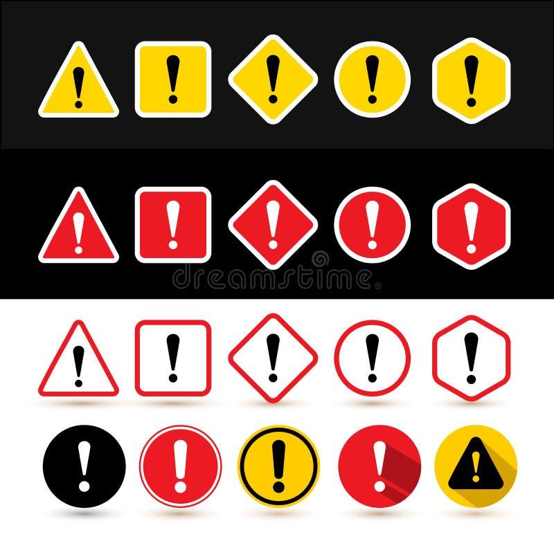 Комплект знаков внимания Формирует треугольник, квадрат, косоугольник, круг, шестиугольник с восклицательным знаком Дизайн с знач иллюстрация вектора