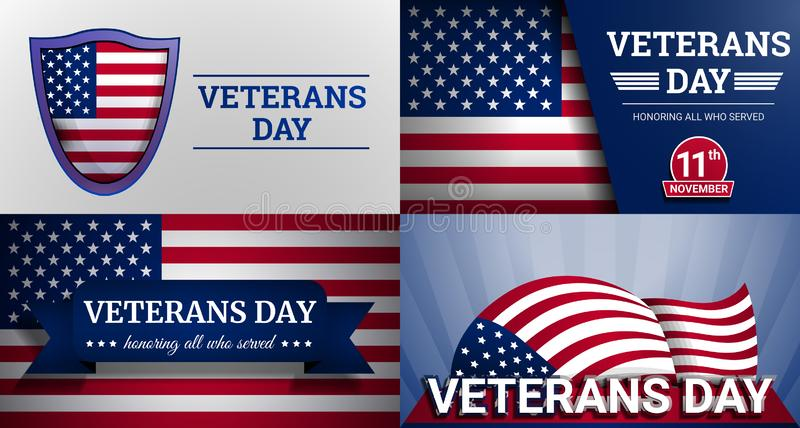 Комплект знамени дня ветеранов воинский, стиль шаржа бесплатная иллюстрация