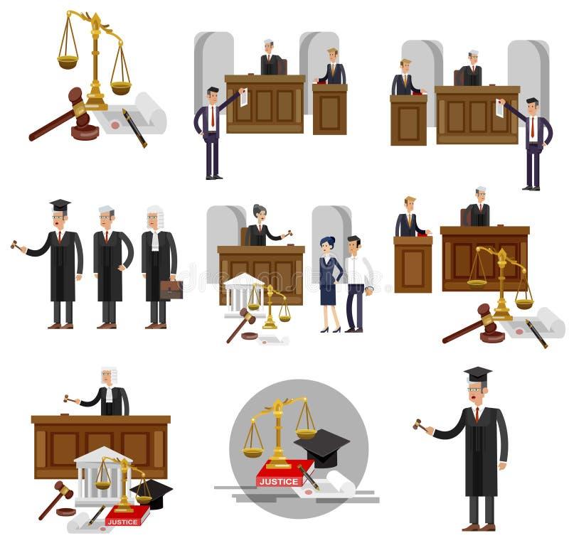 Комплект знамени закона горизонтальный с элементами судебной системы изолировал иллюстрацию вектора бесплатная иллюстрация