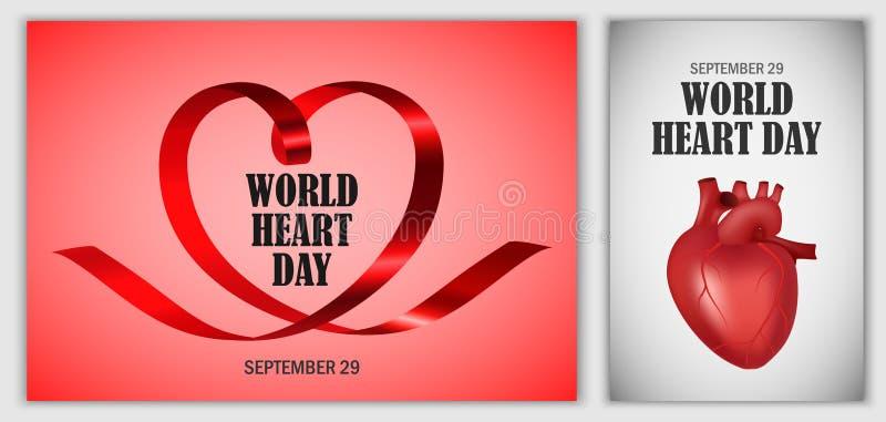 Комплект знамени мира дня сердца мира, реалистический стиль иллюстрация вектора