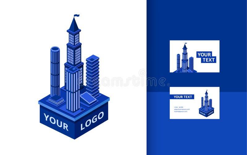 Комплект знамени небоскреба вектора равновеликий современный иллюстрация вектора