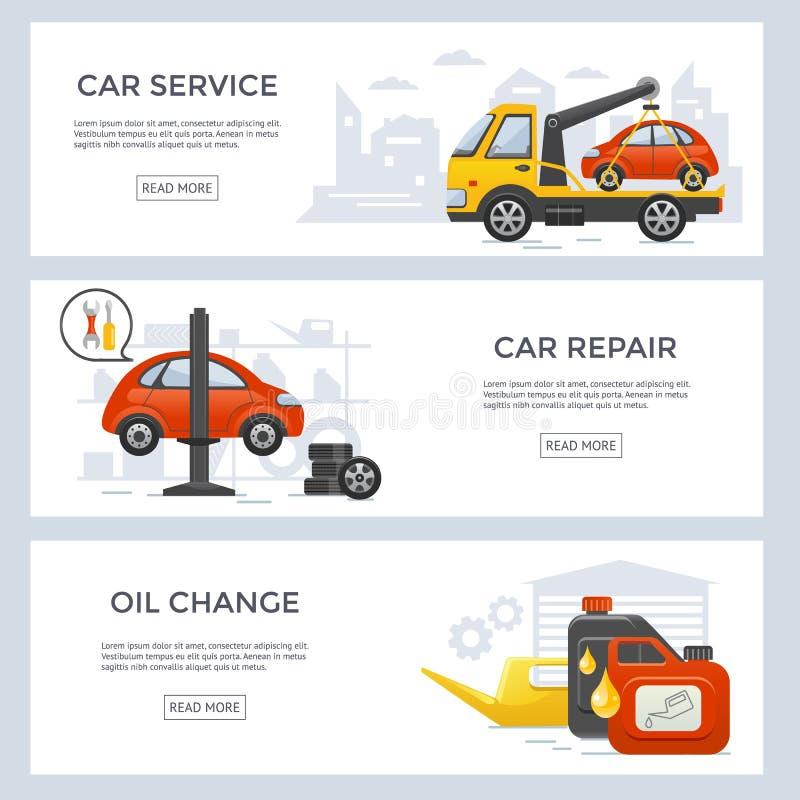Комплект знамени обслуживания автомобиля иллюстрация вектора