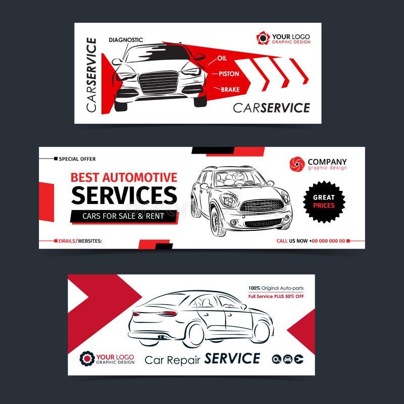 Комплект знамени обслуживания ремонта автомобилей, плаката, рогульки Шаблоны плана предприятия сферы обслуживания автомобиля иллюстрация вектора