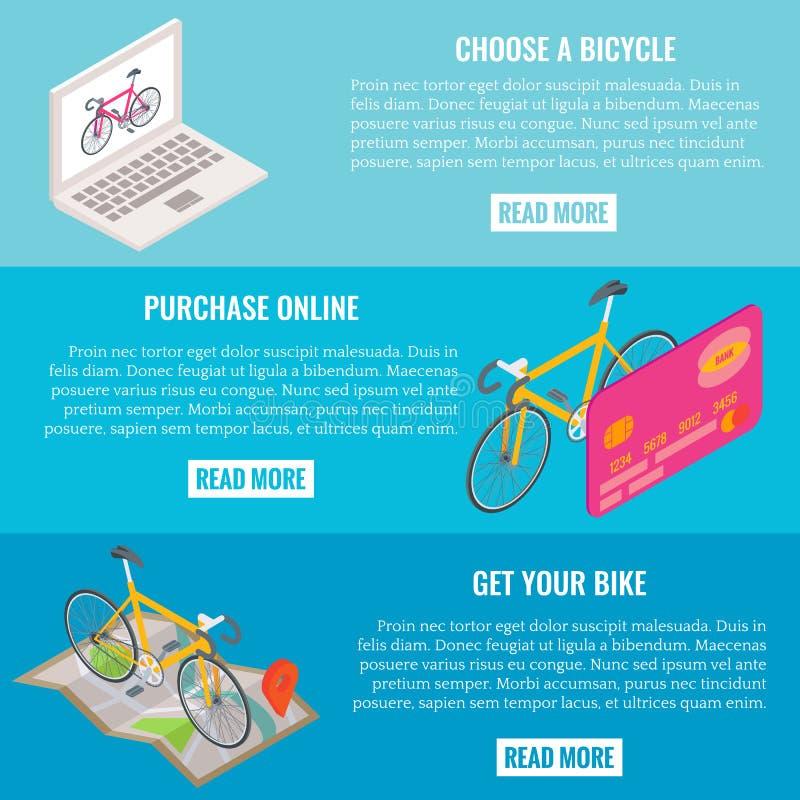 Комплект знамени онлайн вектора концепции покупок велосипеда горизонтальный иллюстрация штока