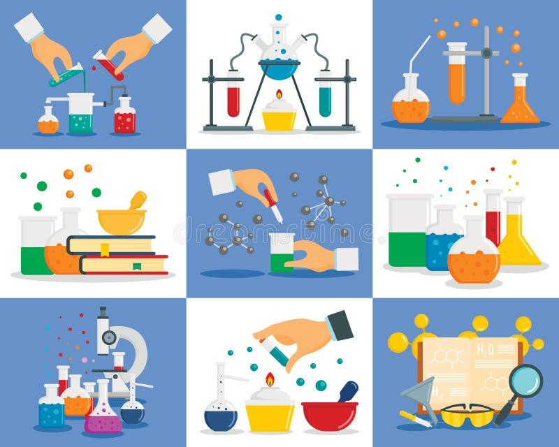 Комплект знамени реакции химии, плоский стиль иллюстрация штока