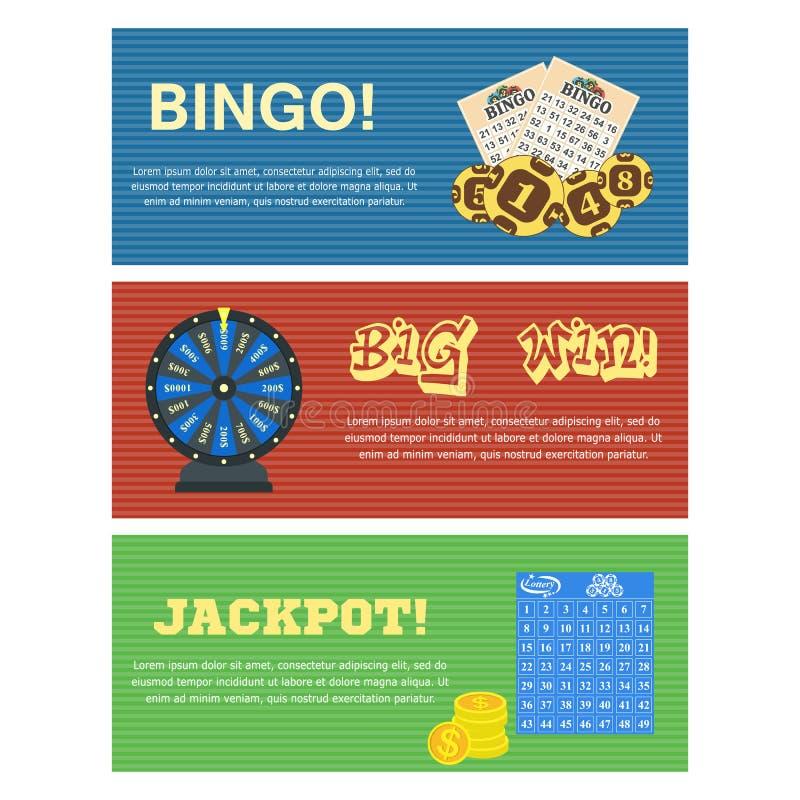 Комплект 3 знамен лотереи горизонтальных с бюллетенем снабжает машину чертежа шариков bingo и editable текст билетами иллюстрация вектора