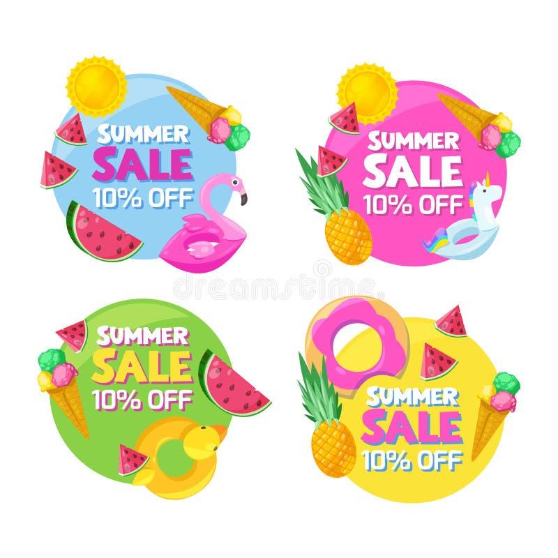 Комплект знамен продажи моды лета круга цвета Стикеры, значки, ярлыки и бирки конструируют шаблоны также вектор иллюстрации притя иллюстрация вектора