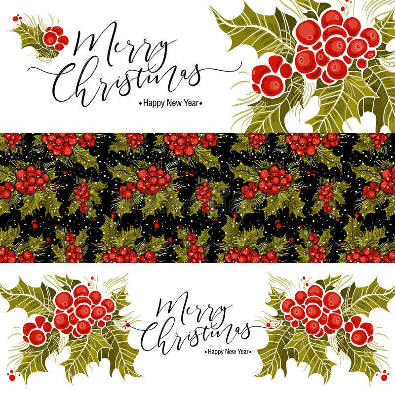 Комплект знамен рождества с ветвью и надписью падуба Vector иллюстрация, большой элемент дизайна для поздравления иллюстрация вектора