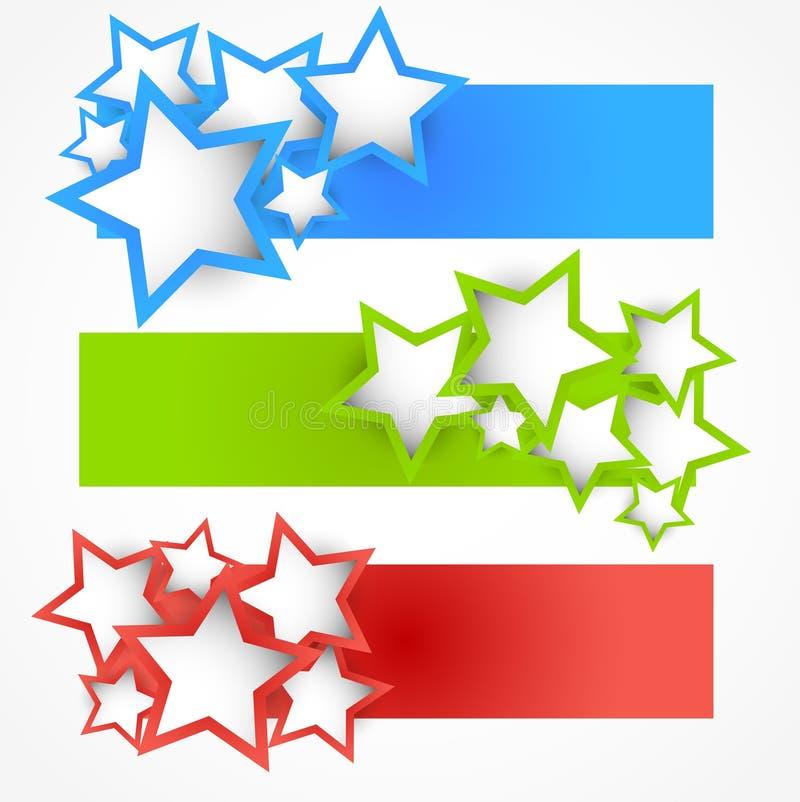 Комплект знамен с звездами иллюстрация вектора