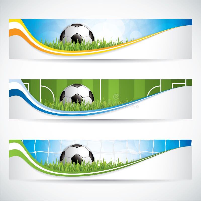 Комплект знамен футбола футбола иллюстрация вектора