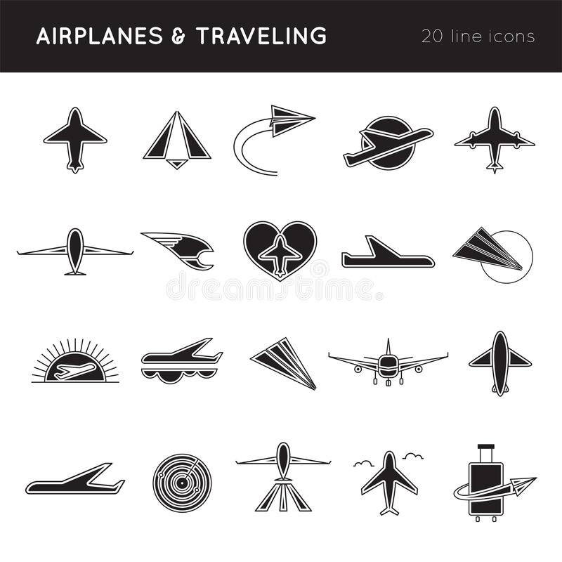 Комплект значка авиакомпаний иллюстрация вектора