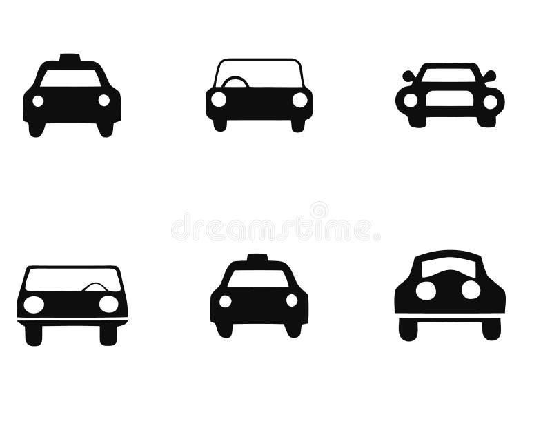 Комплект значка автомобилей изолированный на белой предпосылке Различная форма автомобиля также вектор иллюстрации притяжки corel бесплатная иллюстрация