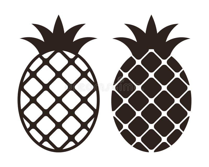 Комплект значка ананаса иллюстрация штока