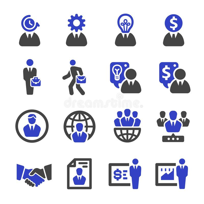 Комплект значка бизнесмена иллюстрация вектора