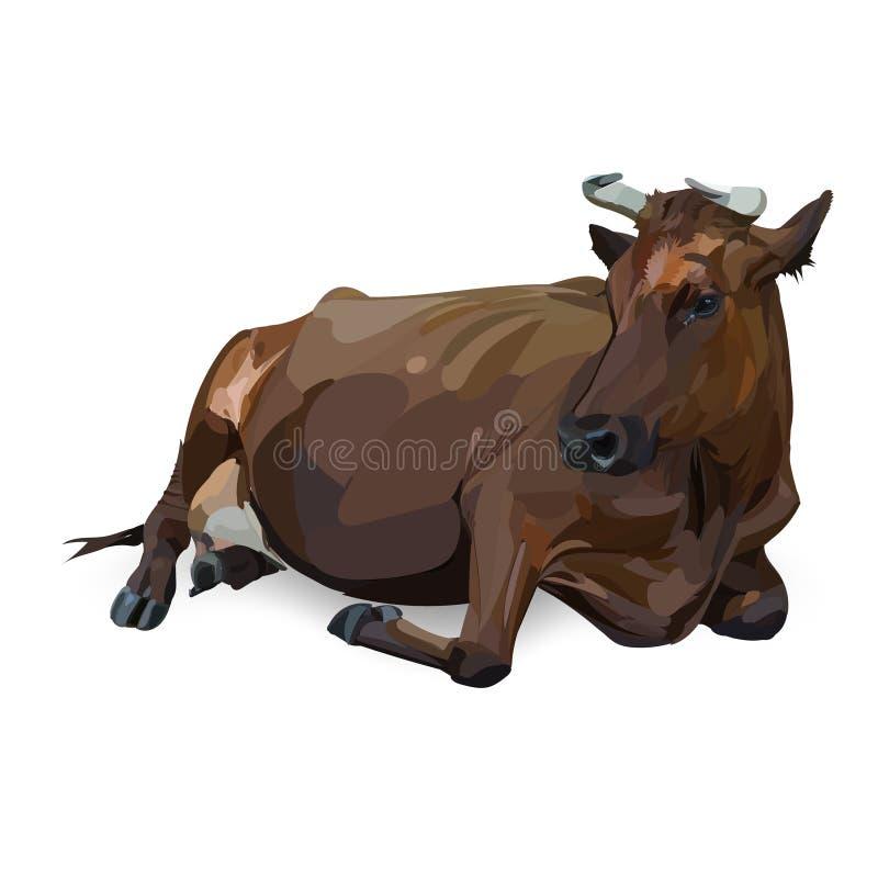 Комплект значка вектора коровы лежа иллюстрация штока