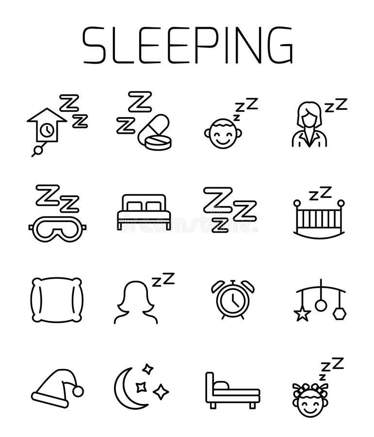 Комплект значка вектора спать родственный иллюстрация штока