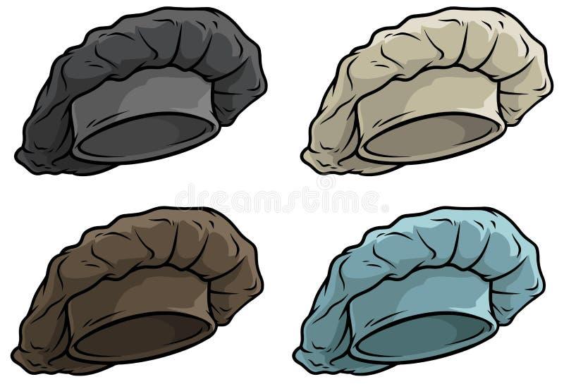 Комплект значка вектора шляпы или крышки кашевара шеф-повара шаржа бесплатная иллюстрация