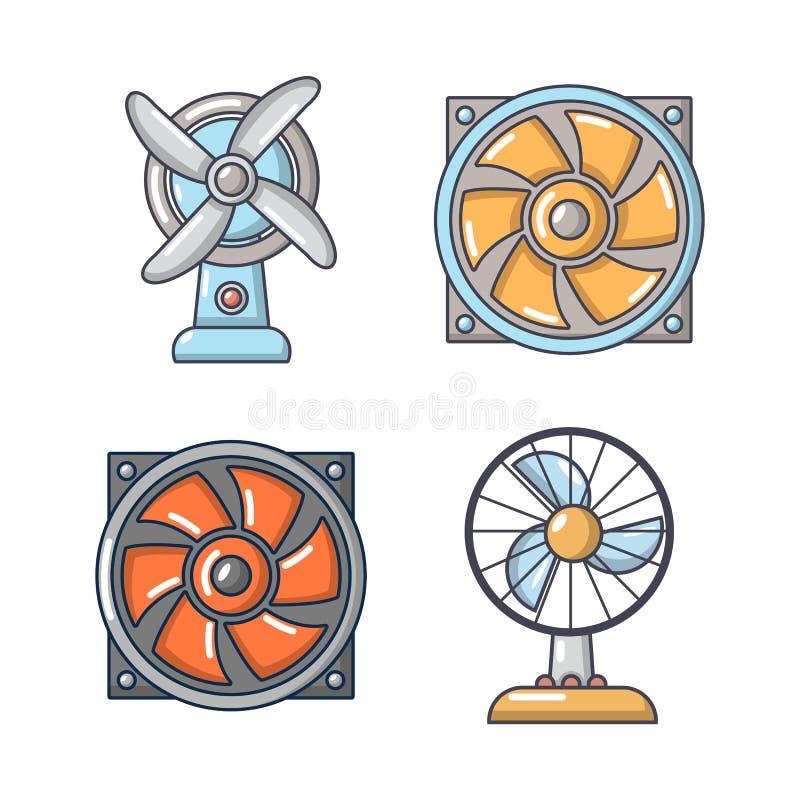 Комплект значка вентилятора, стиль шаржа бесплатная иллюстрация