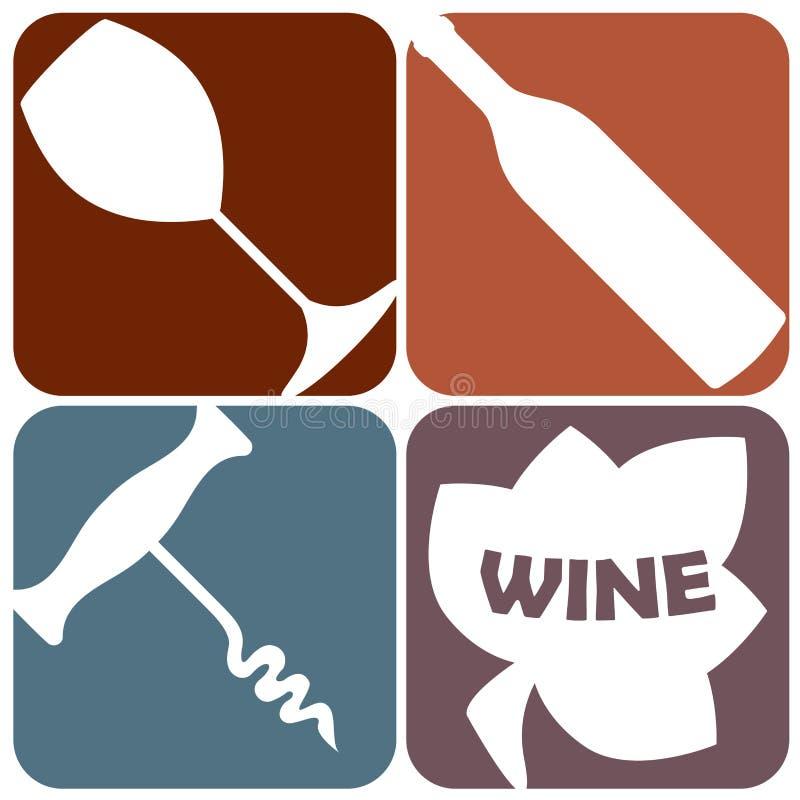 Комплект значка вина Логотип винодельни с бутылкой вина, стеклом, консервооткрывателем лист виноградины и бутылки или штопором та иллюстрация штока