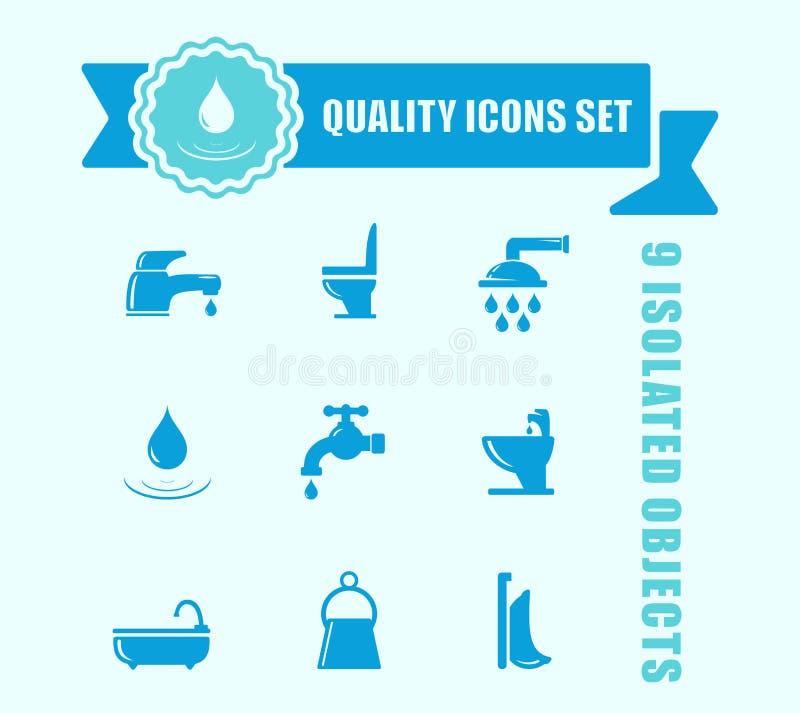 Комплект значка воды и ванной комнаты с голубым акцентом ленты бесплатная иллюстрация