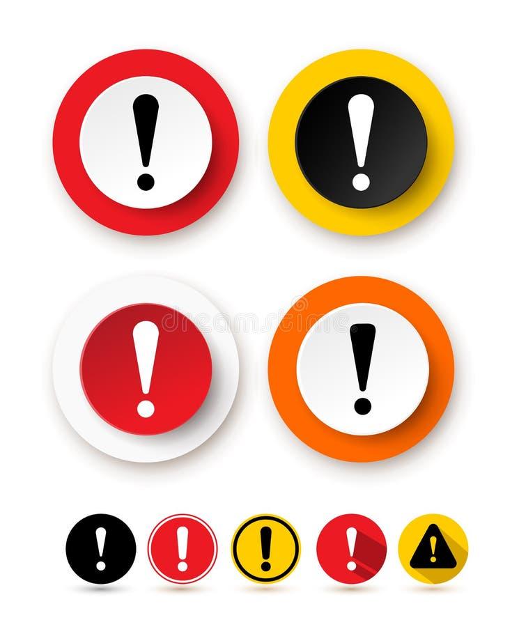 Комплект значка восклицательного знака Символ опасности предупреждающий Значок знака внимания также вектор иллюстрации притяжки c бесплатная иллюстрация