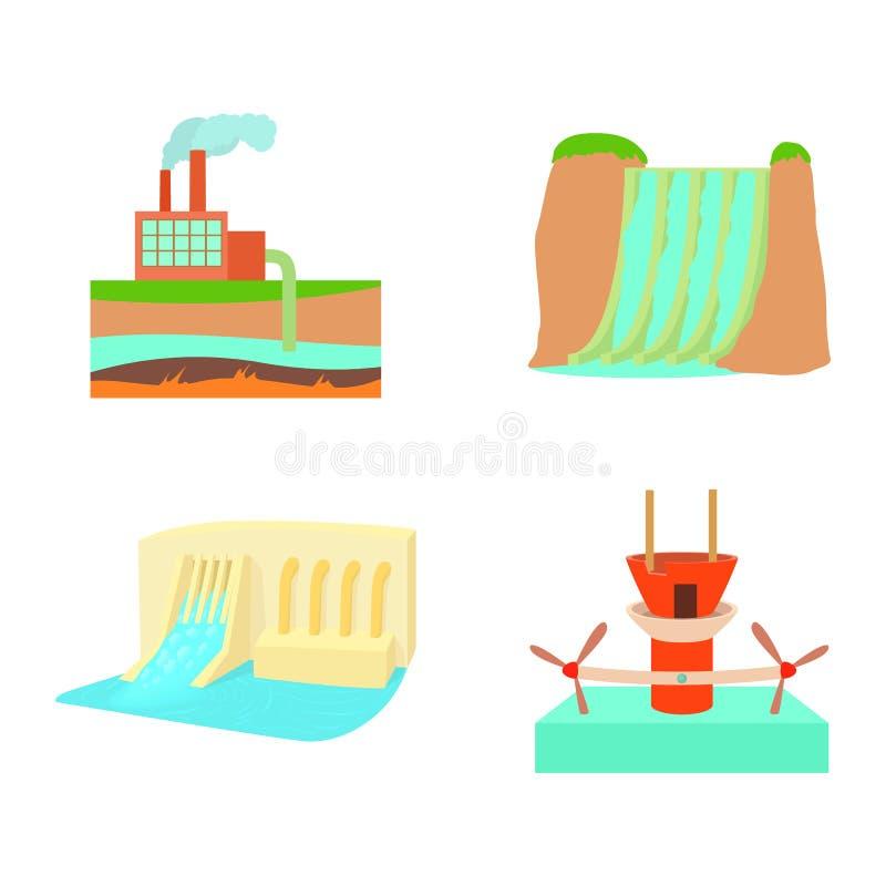 Комплект значка гидроэлектроэнергии, стиль шаржа иллюстрация штока