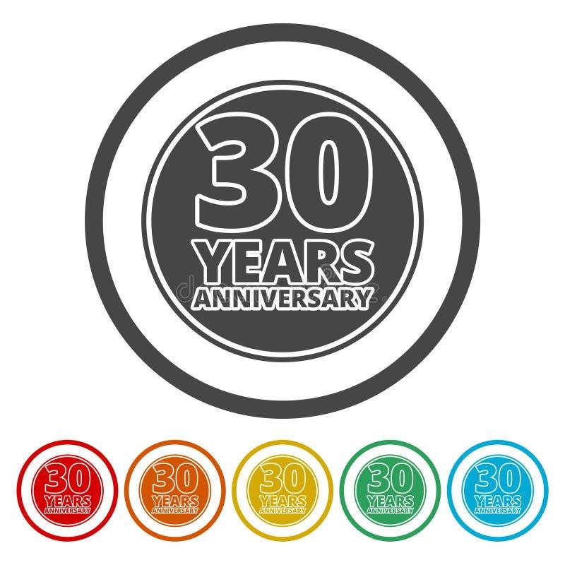 Комплект значка годовщины Символы годовщины изолированные на белой предпосылке 30 лет иллюстрация вектора