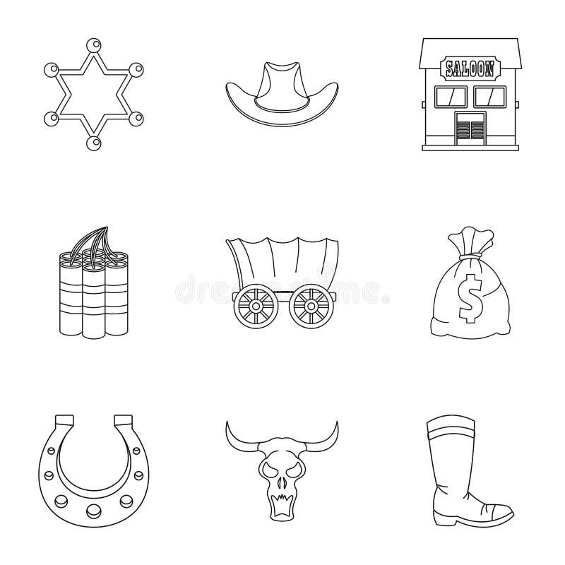 Комплект значка Диких Западов, стиль плана бесплатная иллюстрация