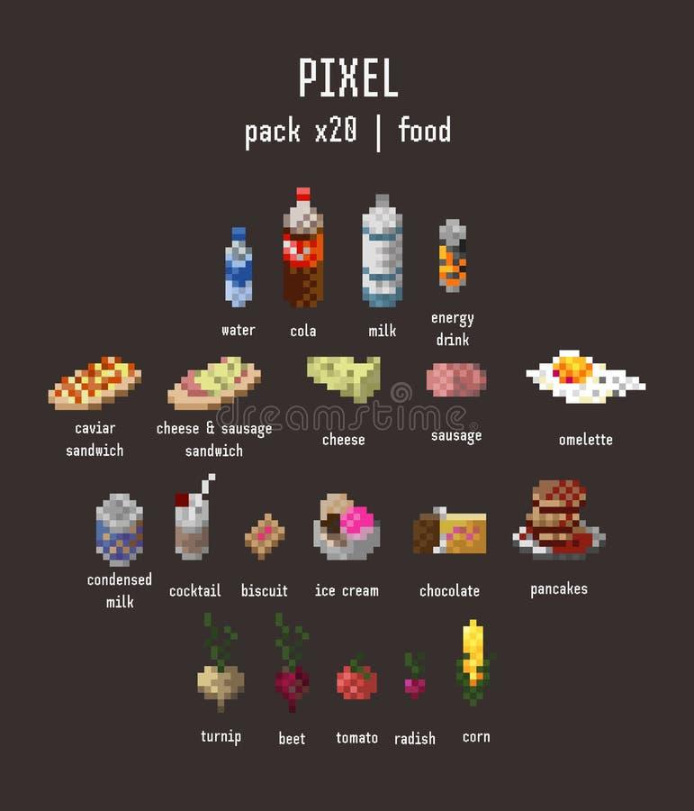 комплект значка еды пиксела 20 деталей на предпосылке темного коричневого цвета иллюстрация штока