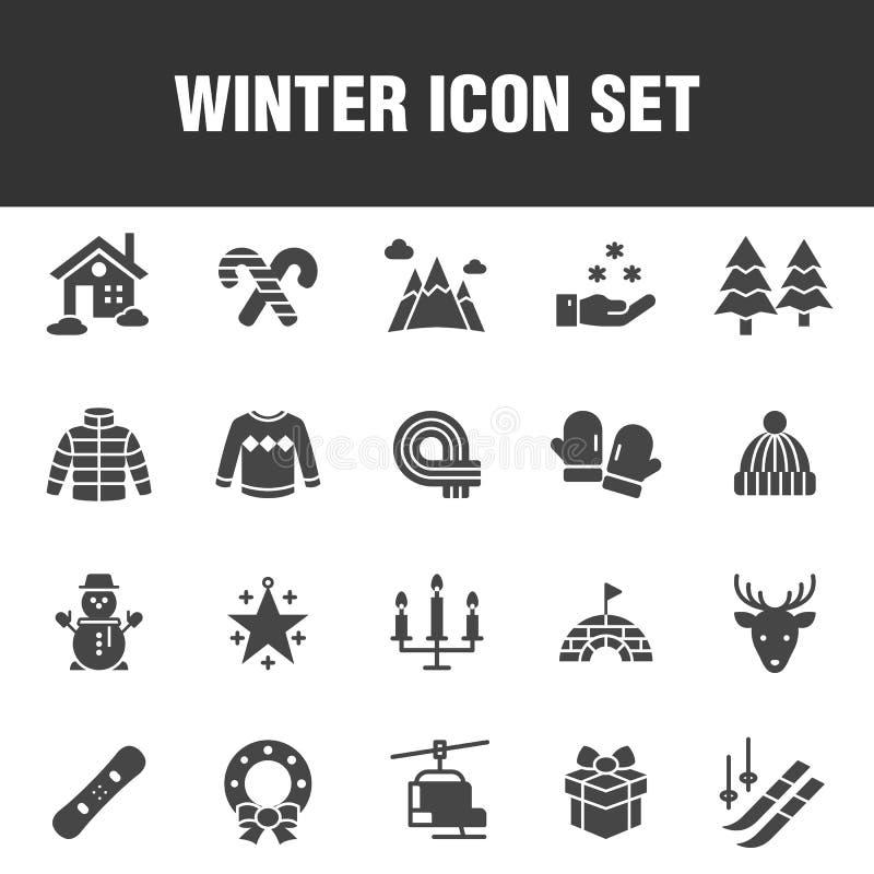 Комплект значка зимы иллюстрация вектора