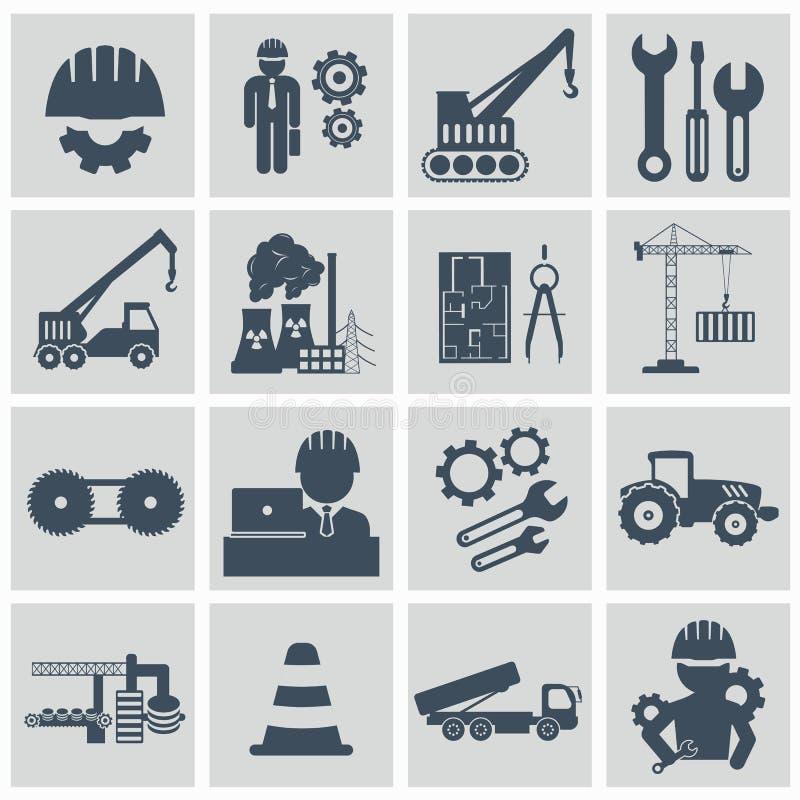 Комплект значка инженерства Проектируйте значки оператора машины строительного оборудования управляя и изготовляя иллюстрация вектора