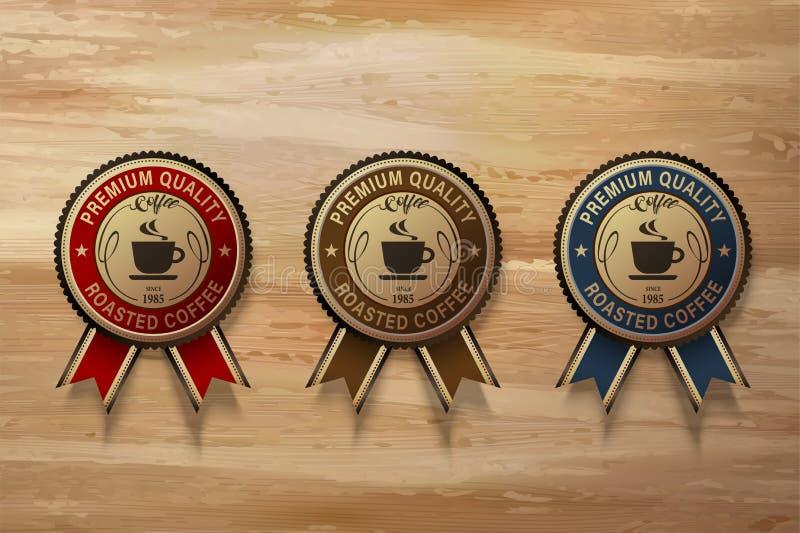 Комплект значка кофе наградной иллюстрация вектора
