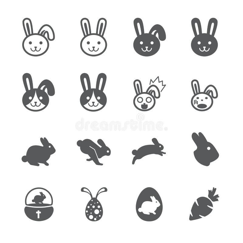 Комплект значка кролика иллюстрация вектора