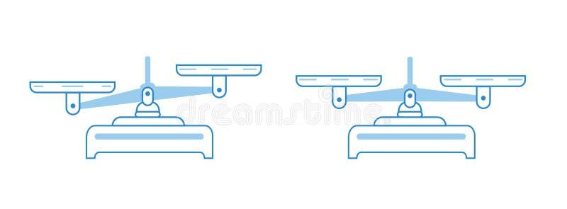 Комплект значка масштаба баланса Шары масштабов в балансе, разница масштабов Иллюстрация символа вектора Голубые линии плоский ве иллюстрация вектора