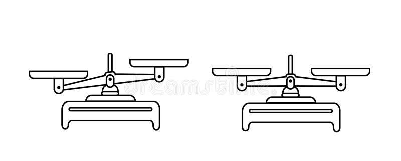 Комплект значка масштаба баланса Шары масштабов в балансе, разница масштабов Иллюстрация символа вектора конструируйте линию точн бесплатная иллюстрация