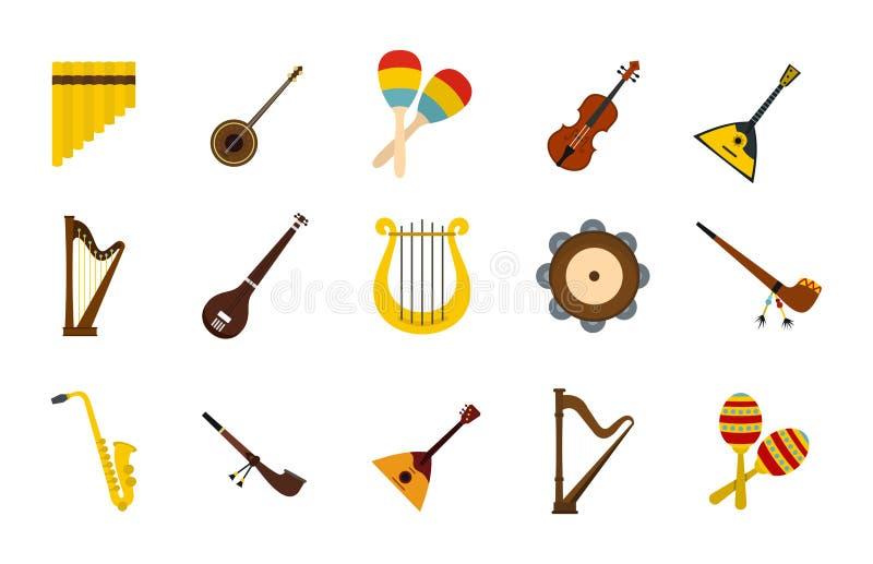 Комплект значка музыкального инструмента, плоский стиль иллюстрация штока