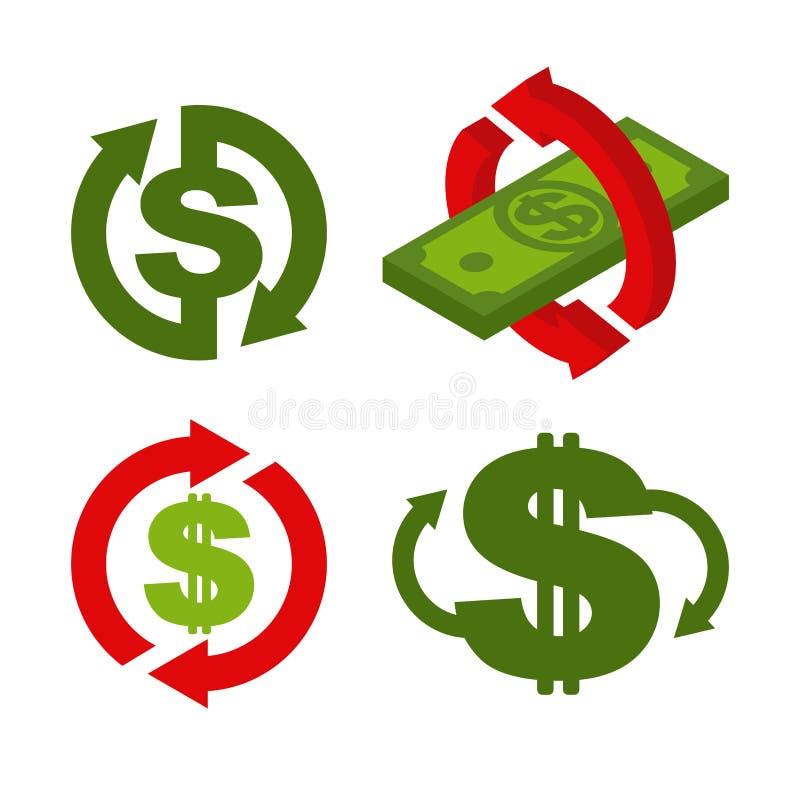 Комплект значка наличных денег задний Символ возвращение денег Знак возмещения иллюстрация штока