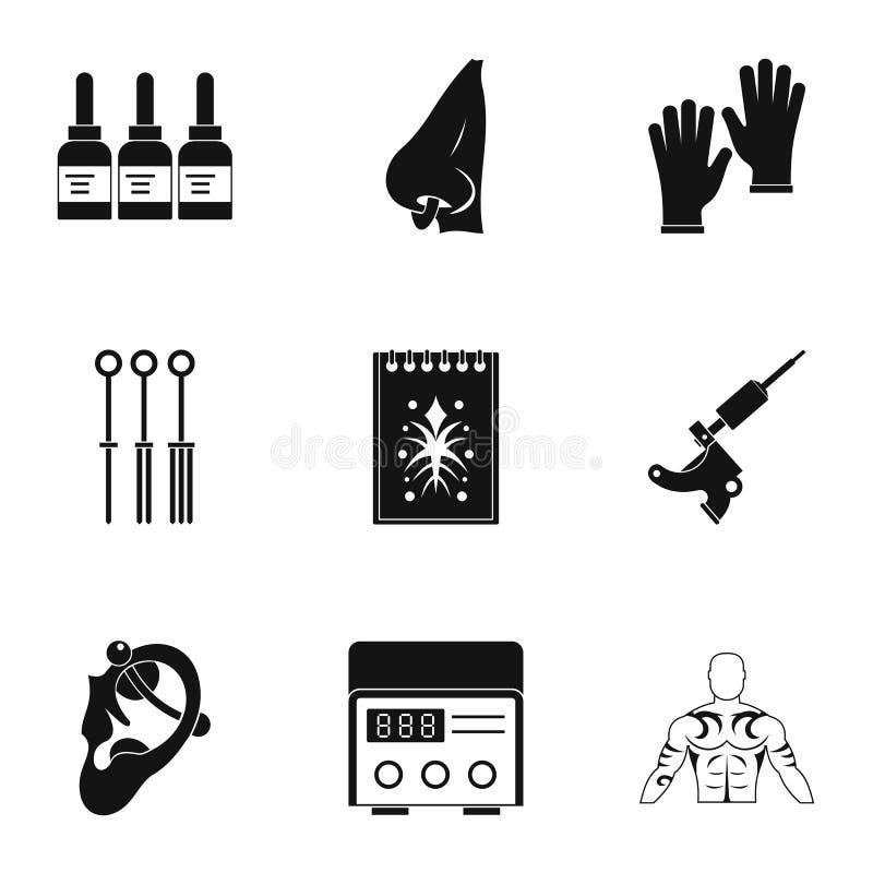 Комплект значка оборудования салона татуировки, простой стиль иллюстрация штока