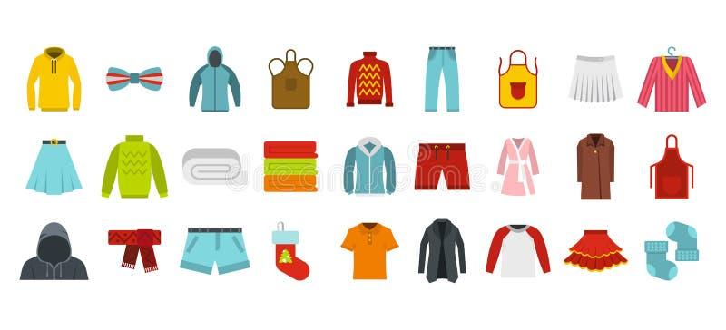 Комплект значка одежд, плоский стиль иллюстрация штока