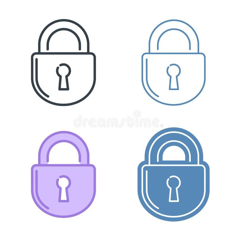 Комплект значка плана вектора замка Принципиальная схема защиты данных иллюстрация штока