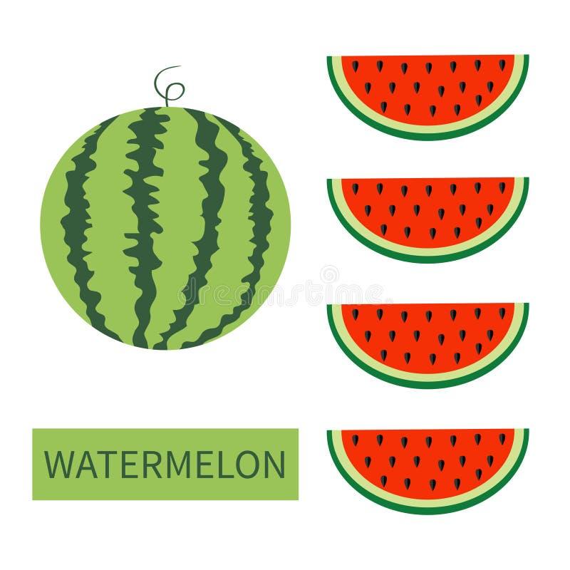Комплект значка плодоовощ арбуза Круглый арбуз Красный кусок с семенами в ряд Отрежьте половину еда здоровая E яркий цвет иллюстрация штока